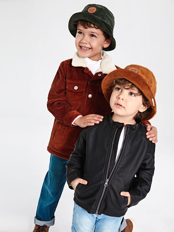 %100 Pamuk Erkek Çocuk Balıkçı Kadife Şapka