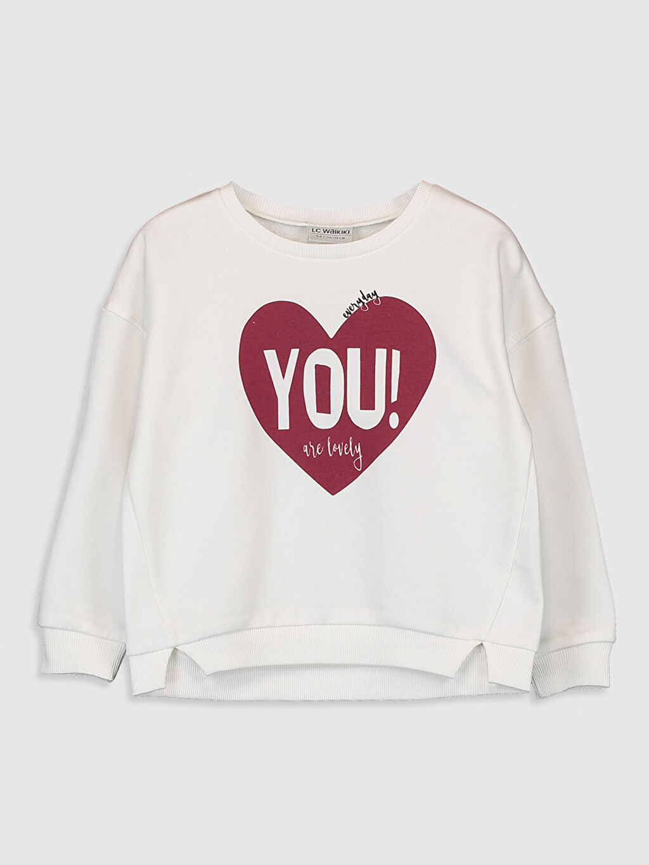 Ekru Kız Çocuk Baskılı Sweatshirt 9WT601Z4 LC Waikiki