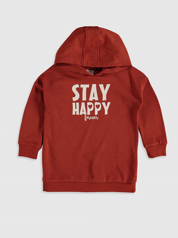 Turuncu Kız Çocuk Baskılı Kapüşonlu Sweatshirt 9WT606Z4 LC Waikiki