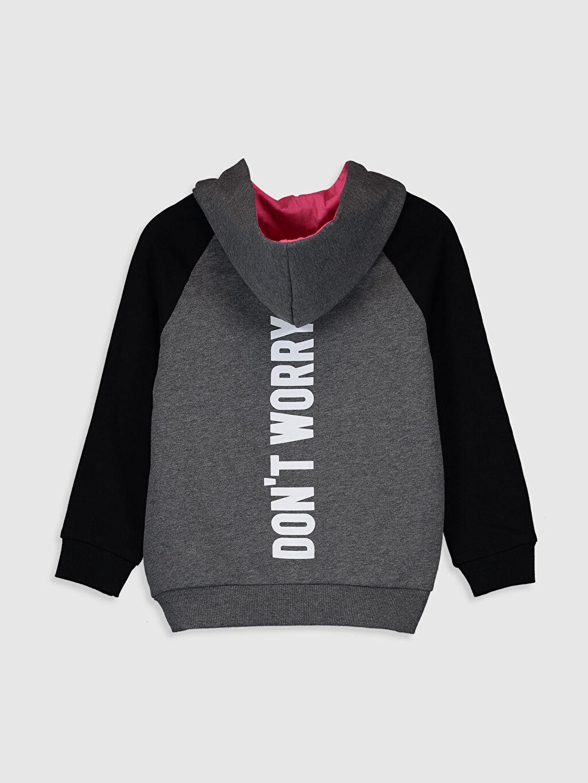 %42 Pamuk %58 Polyester  Kız Çocuk Kapüşonlu Sweatshirt