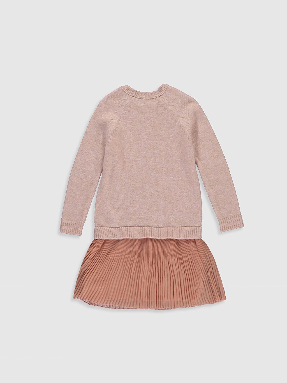 %67 Akrilik %33 Polyester %100 Polyester Diz Üstü Düz Kız Çocuk Pileli Triko Elbise