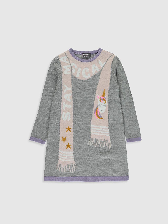 Gri Kız Çocuk Desenli Triko Elbise 9WT803Z4 LC Waikiki