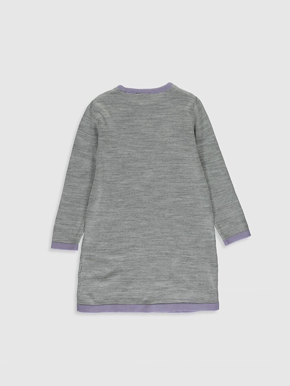 %98 Akrilik %1 Polyester %1 Metalik iplik Diz Üstü Desenli Kız Çocuk Desenli Triko Elbise