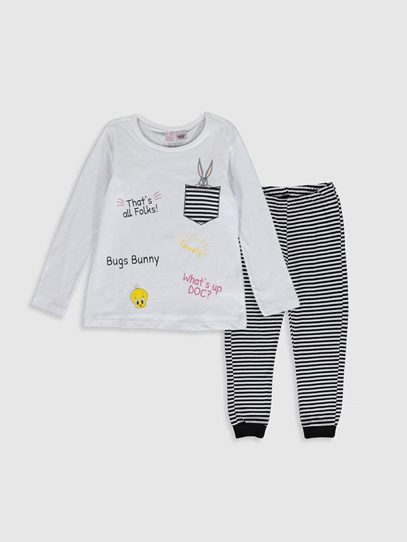 Beyaz Kız Çocuk Bugs Bunny Pamuklu Pijama Takımı 9WU660Z4 LC Waikiki