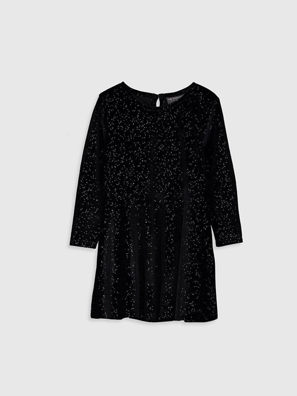 Siyah Kız Çocuk Işıltılı Kadife Elbise 9WU870Z4 LC Waikiki