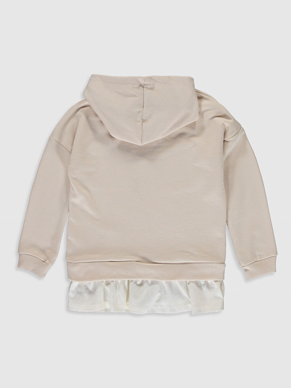 %70 Pamuk %30 Polyester  Kız Çocuk Yazı Baskılı Kapüşonlu Sweatshirt