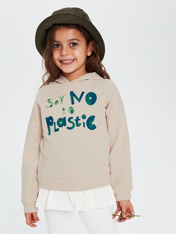 Kız Çocuk Kız Çocuk Yazı Baskılı Kapüşonlu Sweatshirt