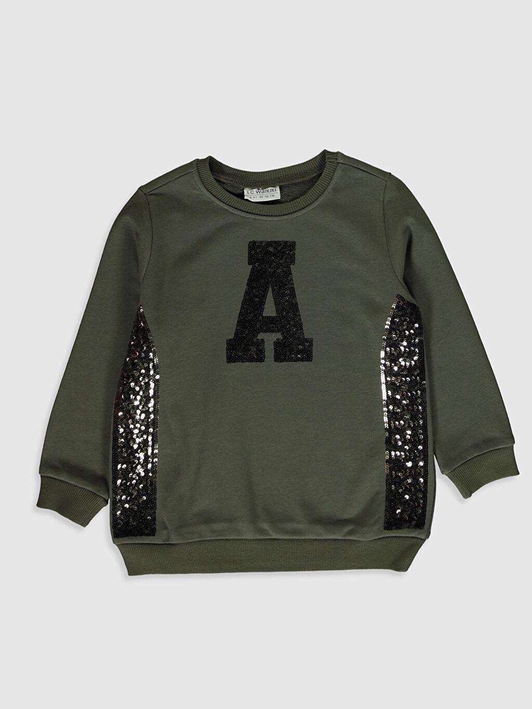 Haki Kız Çocuk Pul İşlemeli Sweatshirt 9WY030Z4 LC Waikiki