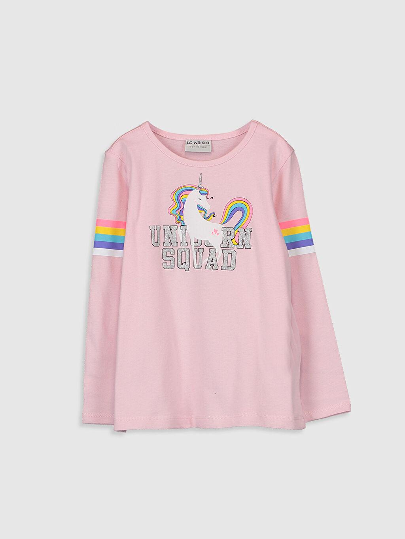 Pembe Kız Çocuk Unicorn Desenli Tişört 9WY118Z4 LC Waikiki