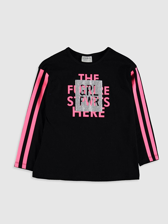 Siyah Kız Çocuk Baskılı Pamuklu Tişört 9WY121Z4 LC Waikiki