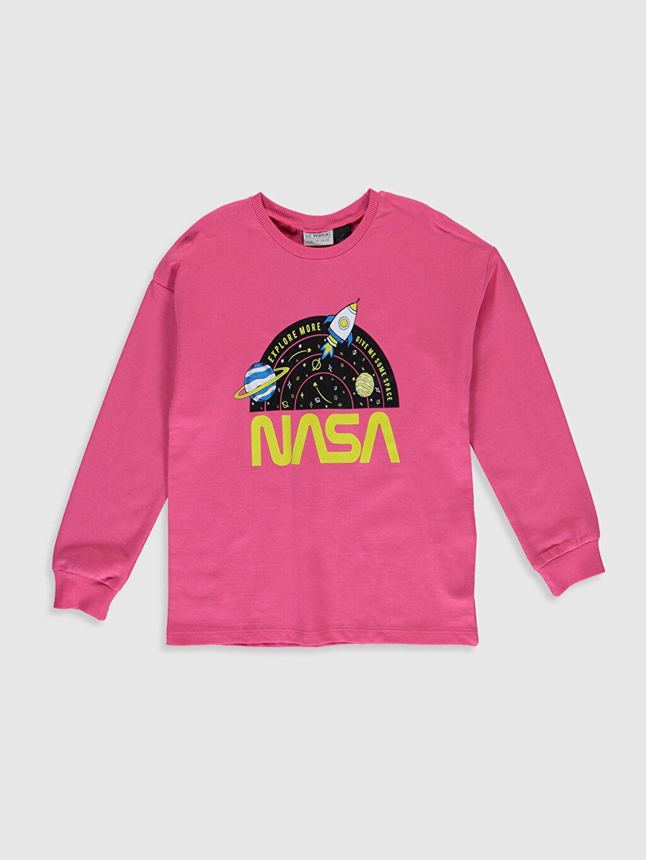 Pembe Kız Çocuk Nasa Baskılı Sweatshirt 9WY993Z4 LC Waikiki