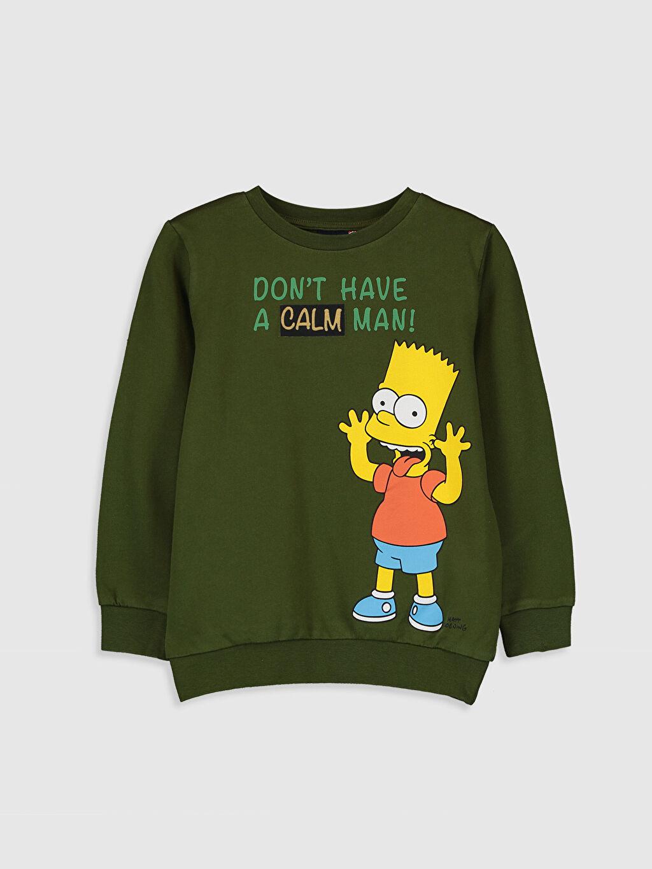 Yeşil Erkek Çocuk Simpson Baskılı Sweatshirt 9WA829Z4 LC Waikiki