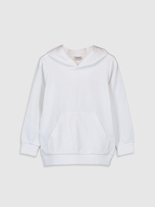 Beyaz Erkek Çocuk Kapüşonlu Sweatshirt 9WB708Z4 LC Waikiki