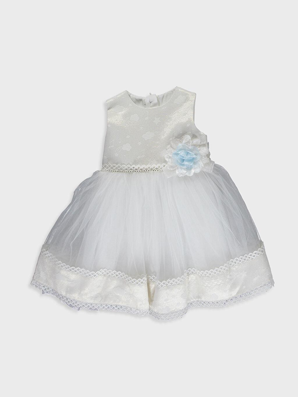 Ekru Daisy Girl Kız Bebek Desenli Abiye Elbise 9WB728Z1 LC Waikiki