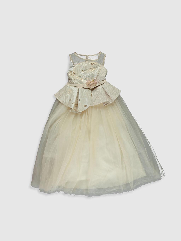 Bej Daisy Girl Kız Çocuk Transparan Detaylı Abiye Elbise 9WB750Z4 LC Waikiki