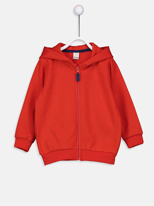 Kırmızı Erkek Bebek Kapüşonlu Fermuarlı Sweatshirt 9W0410Z1 LC Waikiki