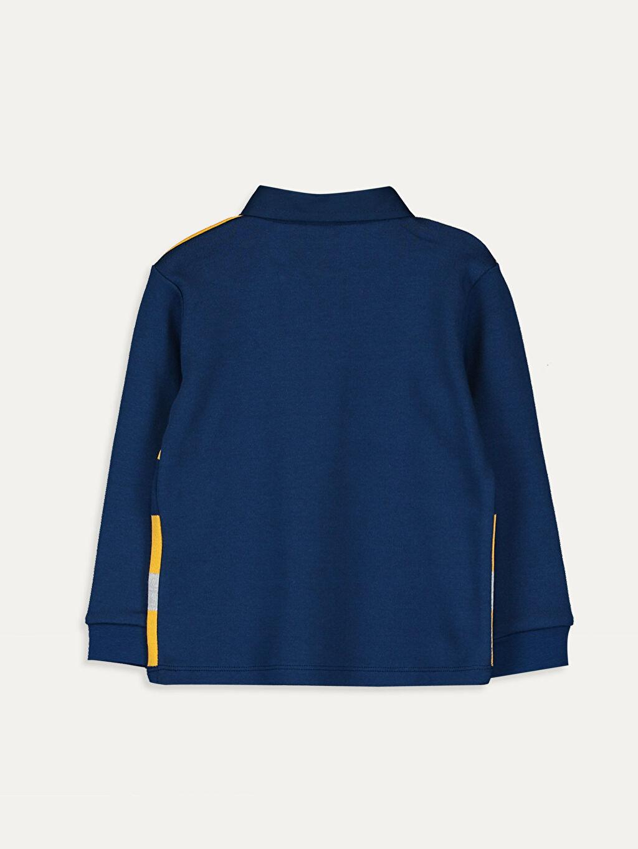 %90 Pamuk %10 Polyester Çizgili Uzun Kol Tişört Polo Normal Erkek Bebek Çizgili Tişört