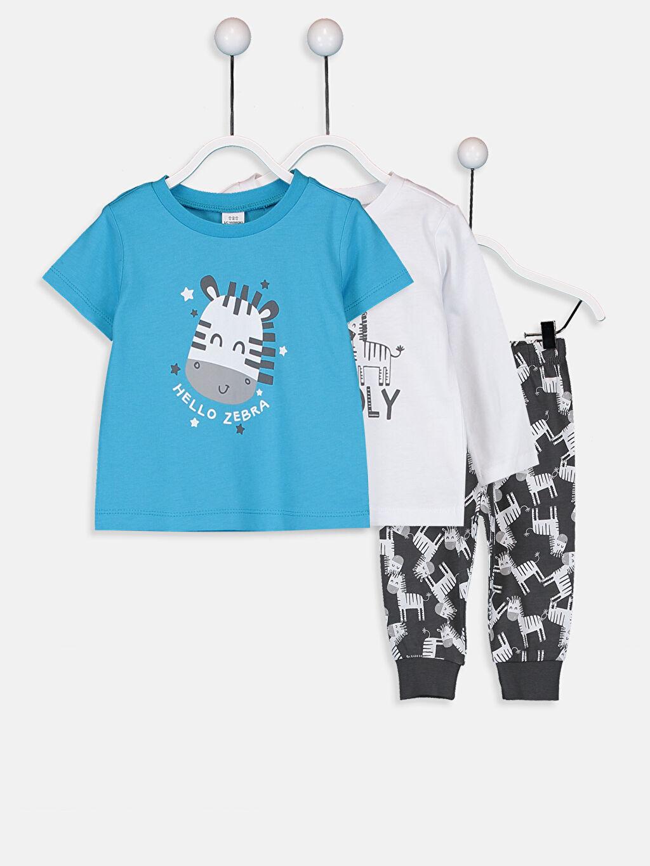 Beyaz Erkek Bebek Pijama Takımı 3'lü 9W1285Z1 LC Waikiki