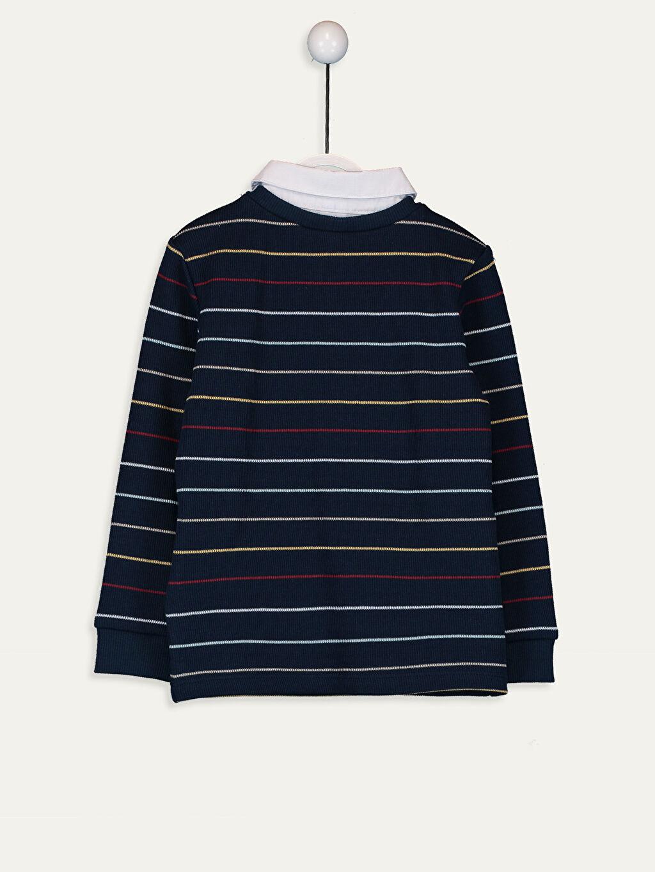 %100 Pamuk Çizgili Uzun Kol Tişört V yaka Normal Erkek Bebek Çizgili Pamuklu Tişört