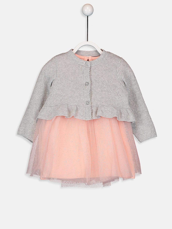 Pembe Kız Bebek Elbise ve Triko Hırka 9W1879Z1 LC Waikiki