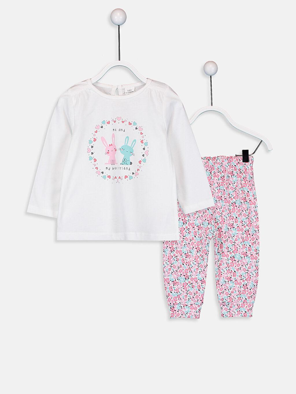 Ekru Kız Bebek Desenli Pamuklu Pijama Takımı 9W2095Z1 LC Waikiki