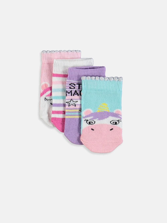 Çok Renkli Kız Bebek Patik Çorap 4'lü 9W2142Z1 LC Waikiki