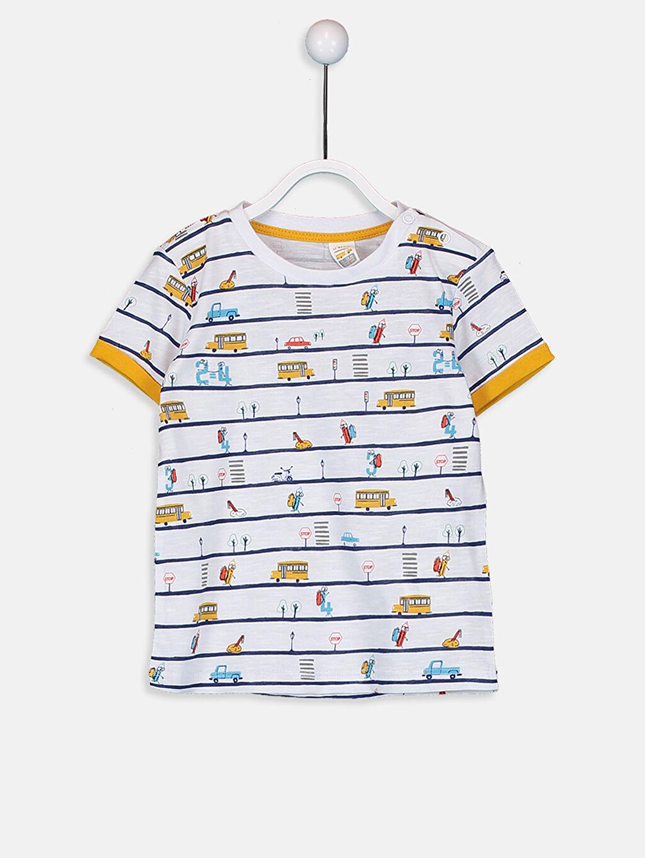 Sarı Erkek Bebek Pamuklu Baskılı Tişört 9W2240Z1 LC Waikiki