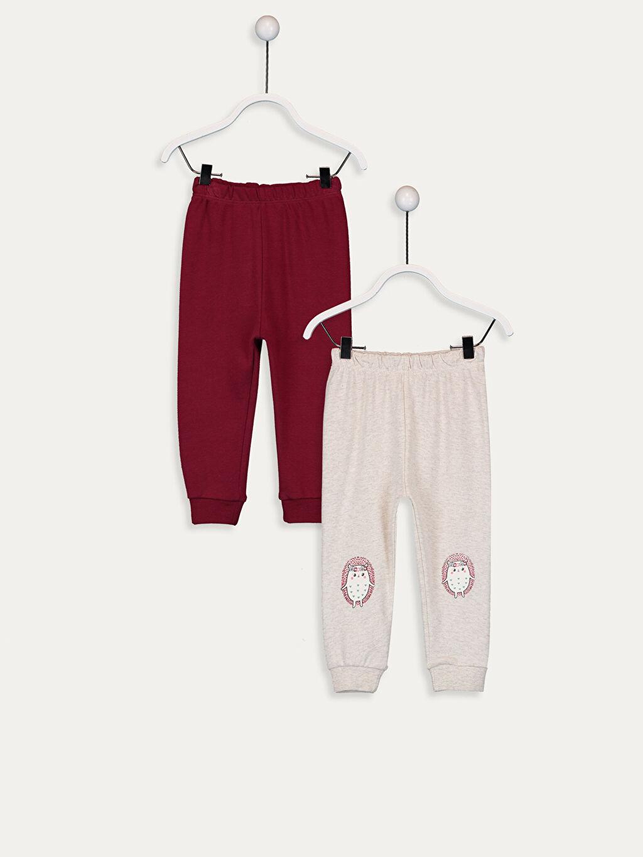 Bordo Kız Bebek Pijama Alt 2'li 9W3346Z1 LC Waikiki