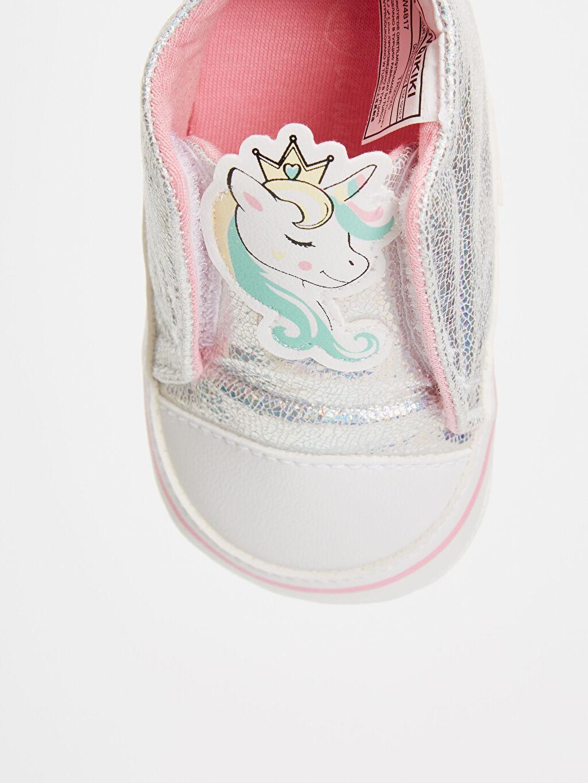 LC Waikiki Gri Kız Bebek Parlak Unicorn Ayakkabı