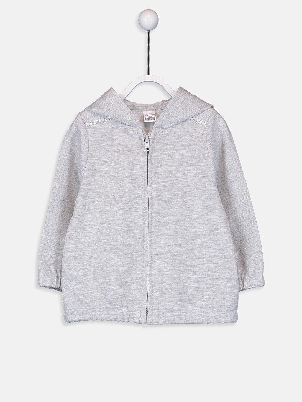 Gri Kız Bebek Kapüşonlu Fermuarlı Sweatshirt 9W5155Z1 LC Waikiki