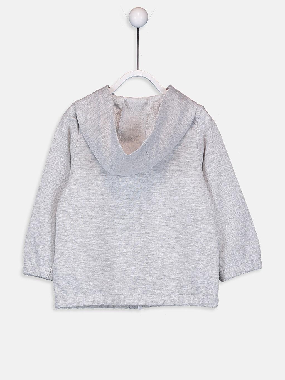 %68 Pamuk %32 Polyester  Kız Bebek Kapüşonlu Fermuarlı Sweatshirt