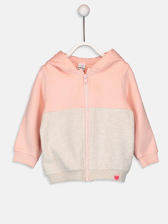 Pembe Kız Bebek Kapüşonlu Fermuarlı Sweatshirt 9W5158Z1 LC Waikiki
