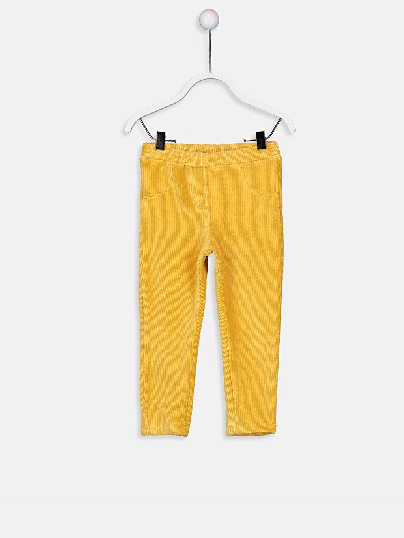 Sarı Kız Bebek Kadife Tayt 9W5579Z1 LC Waikiki
