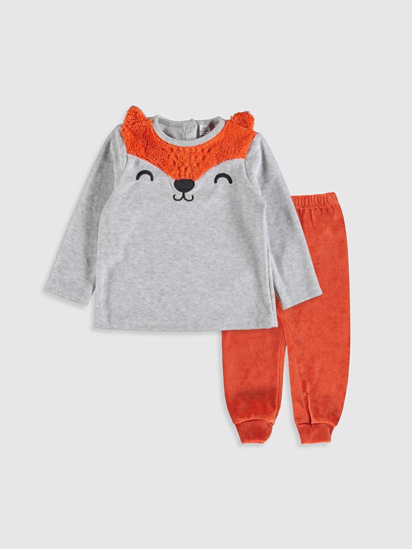 Gri Erkek Bebek Kadife Pijama Takımı 9W6129Z1 LC Waikiki