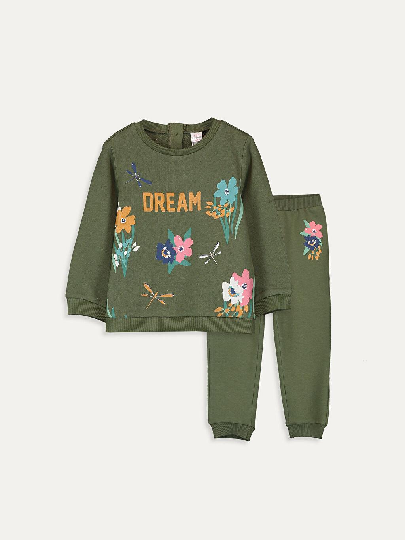 Haki Kız Bebek Sweatshirt ve Pantolon 9W6569Z1 LC Waikiki