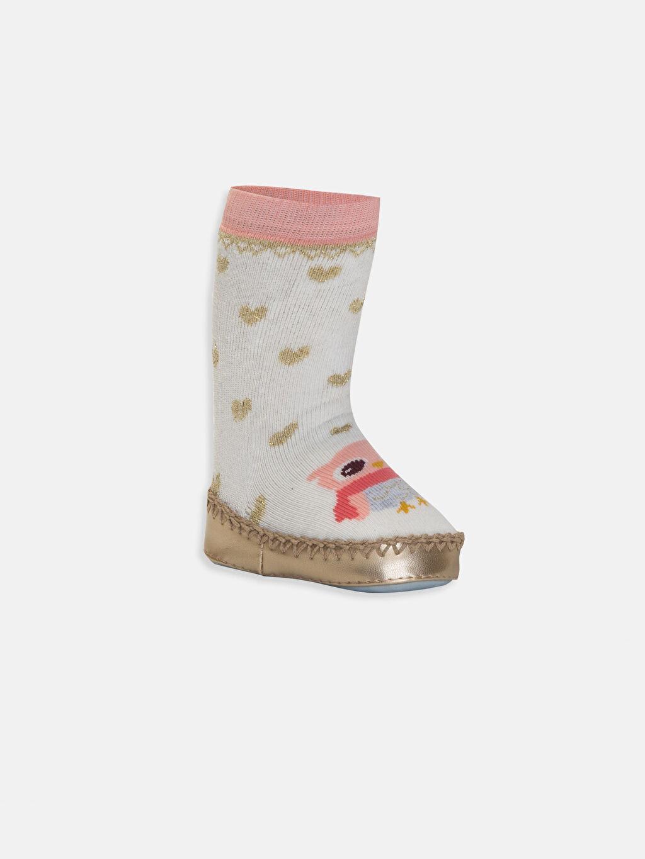 Ekru Kız Bebek Desenli Ev Çorabı 9W6574Z1 LC Waikiki