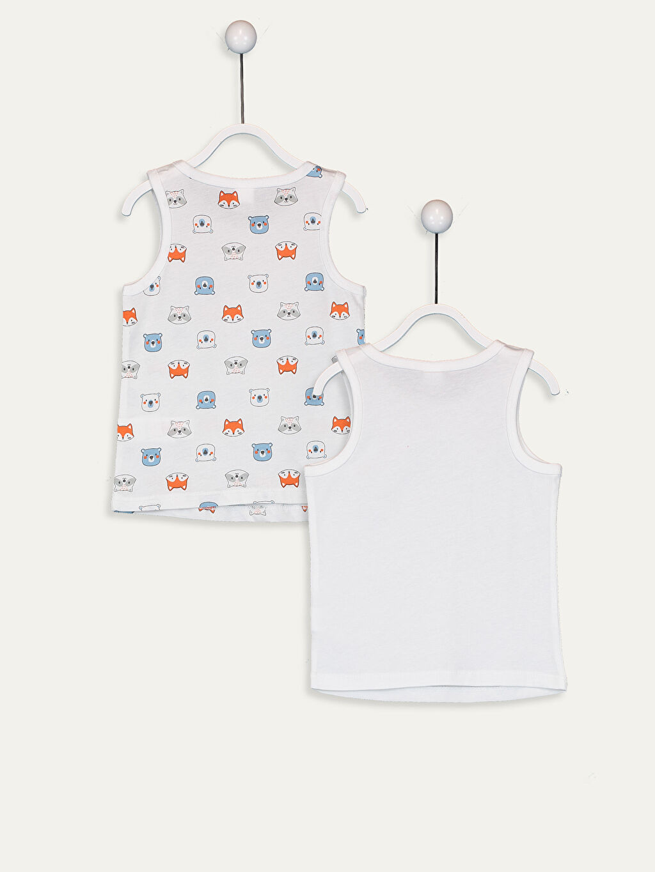 %100 Pamuk Standart İç Giyim Üst Erkek Bebek Desenli Atlet 2'li