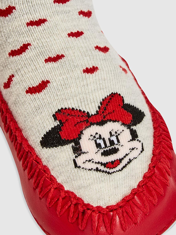 %54 Pamuk %27 Poliester %17 Poliamid %2 Elastane Kız Bebek Minnie Mouse Baskılı Ev Çorabı