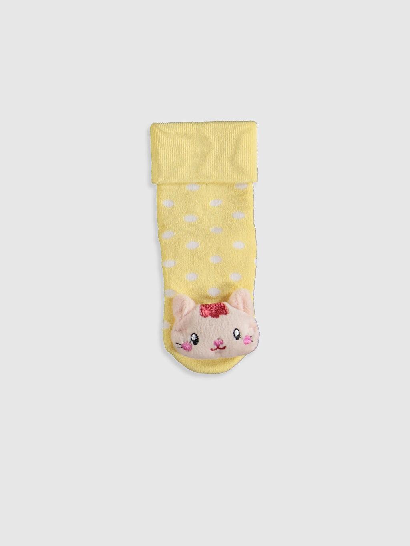 %80 Pamuk %18 Poliamid %2 Elastan  Kız Bebek Puantiyeli Aplikeli Ev Çorabı
