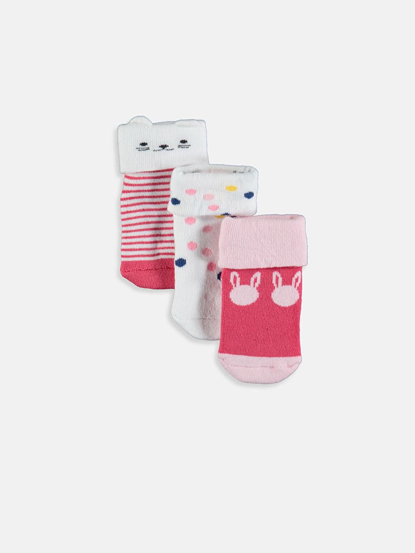 Çok Renkli Kız Bebek Desenli Soket Çorap 3'lü 9W7169Z1 LC Waikiki