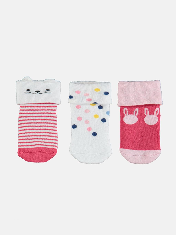 %77 Pamuk %22 Poliamid %1 Elastan  Kız Bebek Desenli Soket Çorap 3'lü