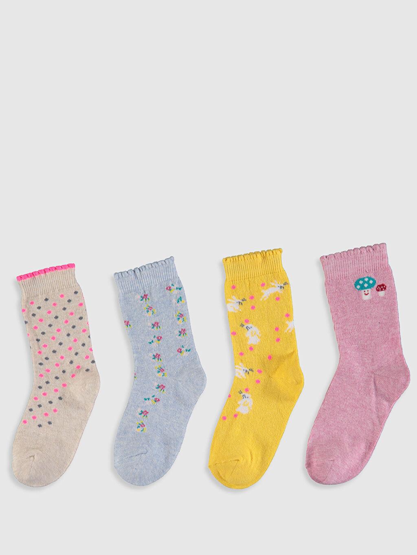 %76 Pamuk %23 Poliamid %1 Elastan  Kız Bebek Soket Çorap 4'lü