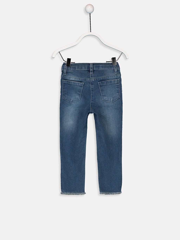 %79 Pamuk %19 Polyester %2 Elastan Standart Kız Bebek Desenli Jean