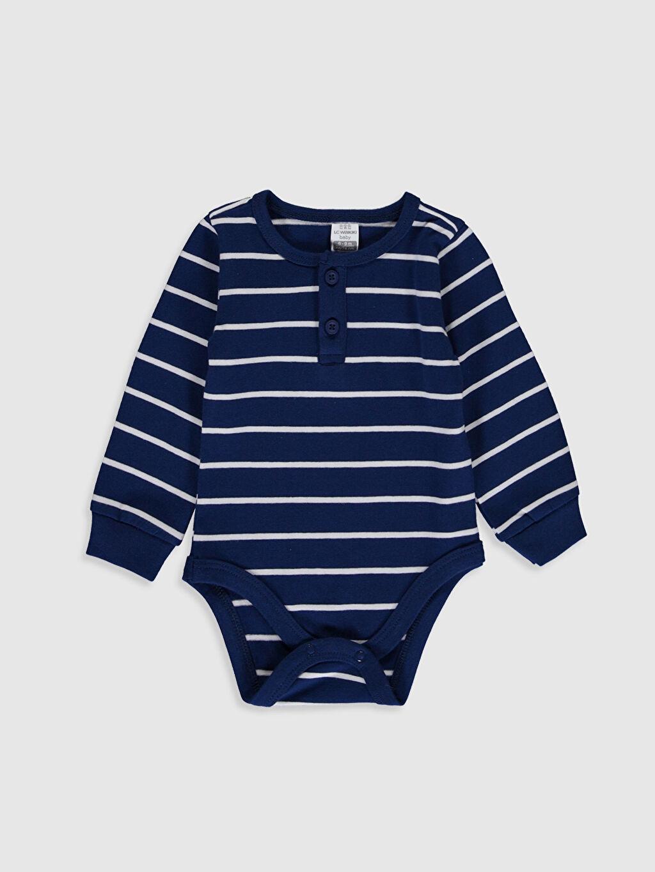 Lacivert Erkek Bebek Çizgili Çıtçıtlı Body 9W8130Z1 LC Waikiki