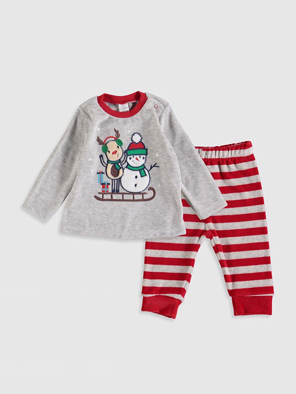 Gri Erkek Bebek Kadife Pijama Takımı 9W8277Z1 LC Waikiki