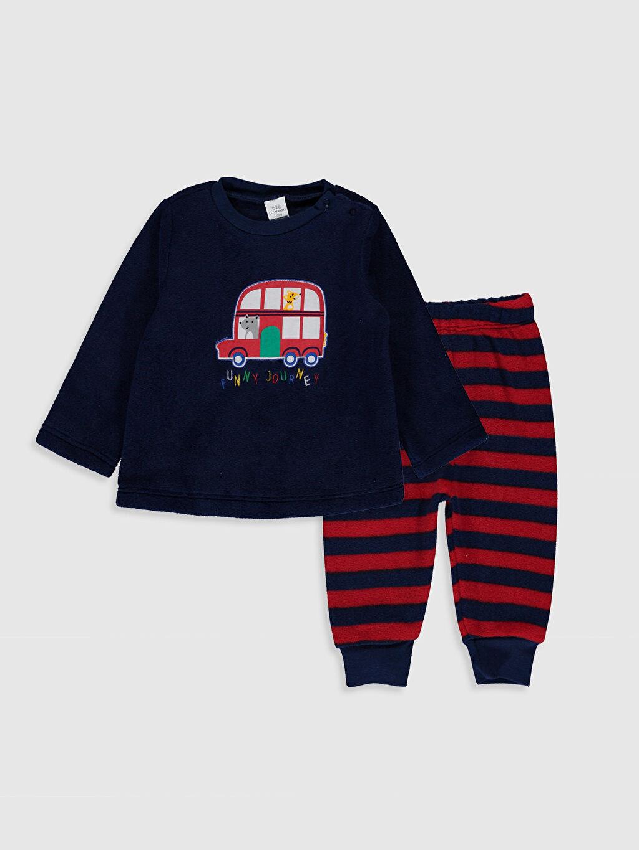 Lacivert Erkek Bebek Baskılı Polar Pijama Takımı 9W8294Z1 LC Waikiki