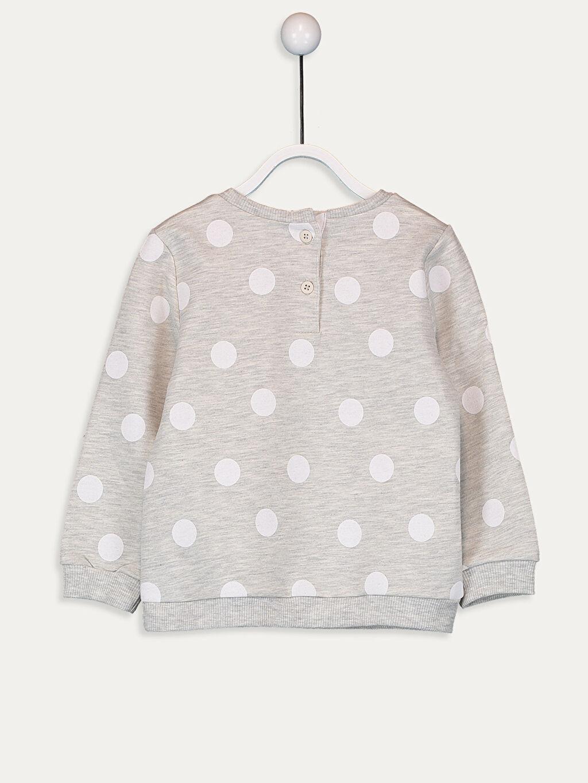 %67 Pamuk %33 Polyester  Kız Bebek Puantiyeli Sweatshirt