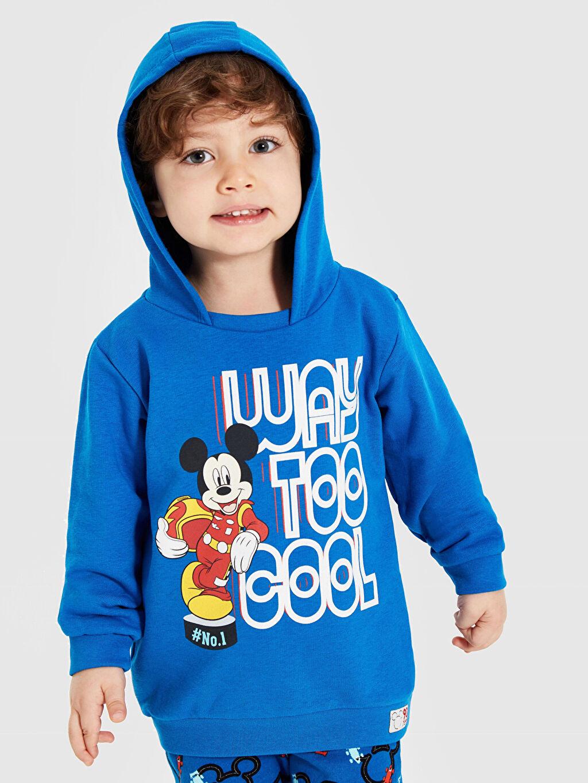 LC Waikiki Mavi Erkek Bebek Mickey Mouse Baskılı Eşofman Takımı