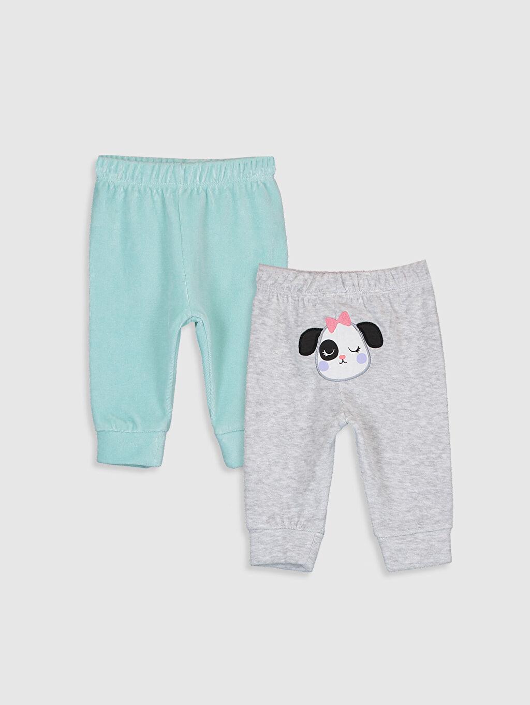 Gri Kız Bebek Kadife Pijama Alt 2'li  9W8711Z1 LC Waikiki