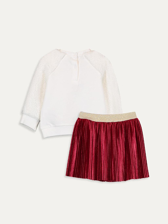 %100 Pamuk  Kız Bebek Sweatshirt ve Etek Takım